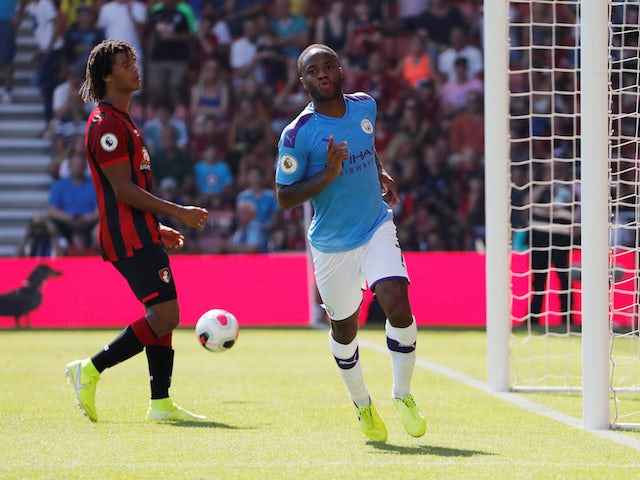 Manchester City's Raheem Sterling celebrates scoring their second goal on August 25, 2019