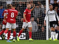 Bristol City's Andreas Weimann celebrates scoring their first goal against Derby on August 20, 2019