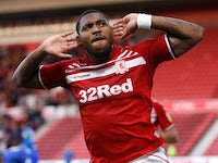 Middlesbrough's Britt Assombalonga celebrates scoring their first goal on August 20, 2019