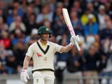 Australia's David Warner celebrates his half century on August 22, 2019