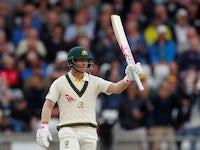Australia's David Warner celebrates his half century on August 22, 2019