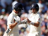 England's Joe Root and Joe Denly during the match on August 24, 2019