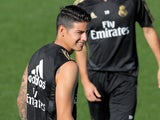 James Rodriguez pictured during a Real Madrid training session on August 23, 2019