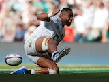 Joe Cokanasiga scores for England on August 24, 2019