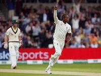 England's Jofra Archer celebrates taking the wicket of Australia's Marcus Harris on August 22, 2019