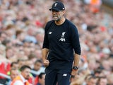 Jurgen Klopp celebrates during the Premier League game between Liverpool and Arsenal on August 24, 2019