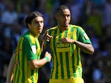 West Bromwich Albion's Kenneth Zohore celebrates scoring their first goal from the penalty spot on August 24, 2019