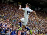Mason Mount celebrates scoring during the Premier League game between Norwich City and Chelsea on August 24, 2019