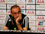 Juventus coach Maurizio Sarri during the post match press conference on July 21, 2019