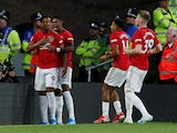 Manchester United's Anthony Martial celebrates scoring their first goal with teammates on August 19, 2019