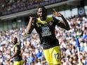 Southampton's Moussa Djenepo celebrates scoring their first goal on August 24, 2019