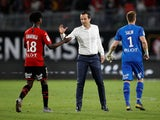 Rennes youngster Eduardo Camavinga is congratulated by boss Julien Stephan on August 18, 2019
