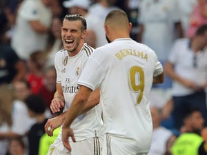 Gareth Bale and Karim Benzema celebrate during Real Madrid's La Liga clash with Real Valladolid on August 24, 2019