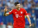 Robert Lewandowski celebrates his hat-trick for Bayern Munich on August 24, 2019