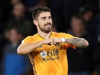 Wolverhampton Wanderers' Ruben Neves celebrates scoring their first goal against Manchester United on August 19, 2019