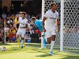 West Ham United's Sebastien Haller celebrates scoring their second goal against Watford on August 24, 2019