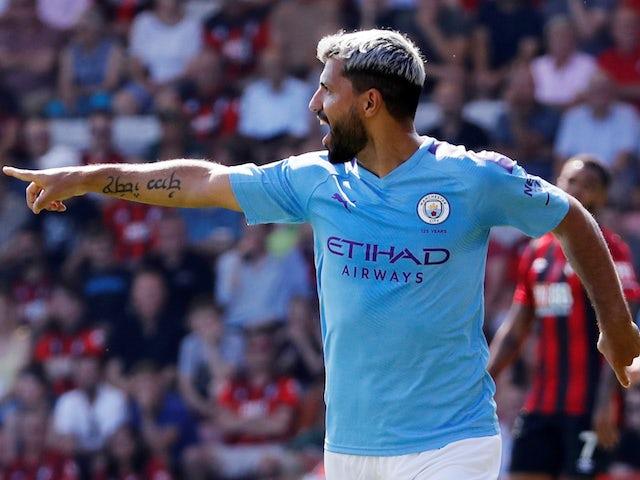 Manchester City's Sergio Aguero celebrates scoring their first goal on August 25, 2019