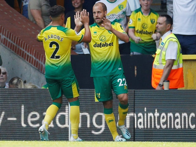 Teemu Pukki celebrates equalising during the Premier League game between Norwich City and Chelsea on August 24, 2019
