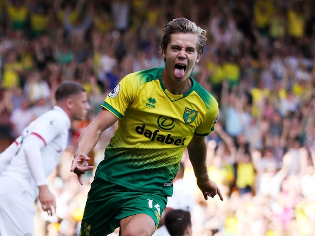 Todd Cantwell celebrates scoring during the Premier League game between Norwich City and Chelsea on August 24, 2019