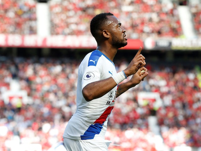 Crystal Palace's Jordan Ayew celebrates scoring against Manchester United in the Premier League on August 24, 2019