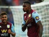 Aston Villa's Wesley celebrates scoring their first goal against Everton on August 23, 2019