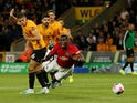 Manchester United are awarded a penalty after Paul Pogba is brought down by Wolverhampton Wanderers' Conor Coady on August 19, 2019