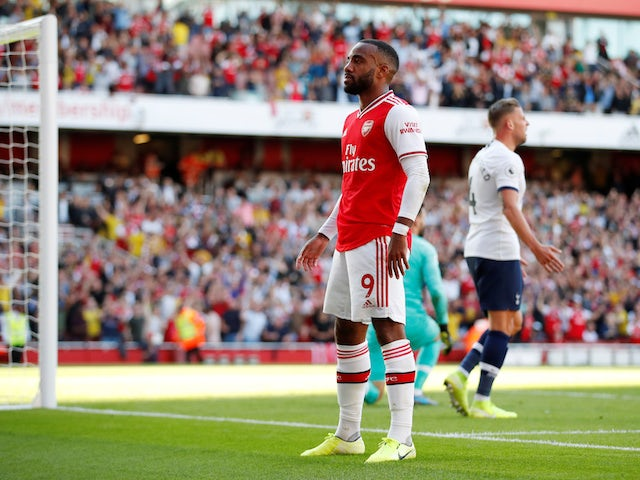 Arsenal's Alexandre Lacazette celebrates scoring their first goal on September 1, 2019