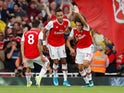 Arsenal's Pierre-Emerick Aubameyang celebrates scoring their second goal with Matteo Guendouzi and Dani Ceballos on September 1, 2019