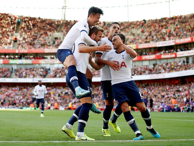 Tottenham Hotspur's Harry Kane celebrates scoring their second goal with teammates on September 1, 2019