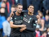 Trent Alexander-Arnold celebrates scoring with Jordan Henderson during the Premier League game between Burnley and Liverpool on August 31, 2019