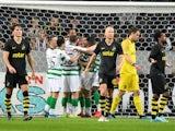 Celtic celebrate scoring against AIK on August 29, 2019