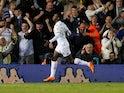 Leeds United's Eddie Nketiah celebrates scoring their first goal on August 21, 2019