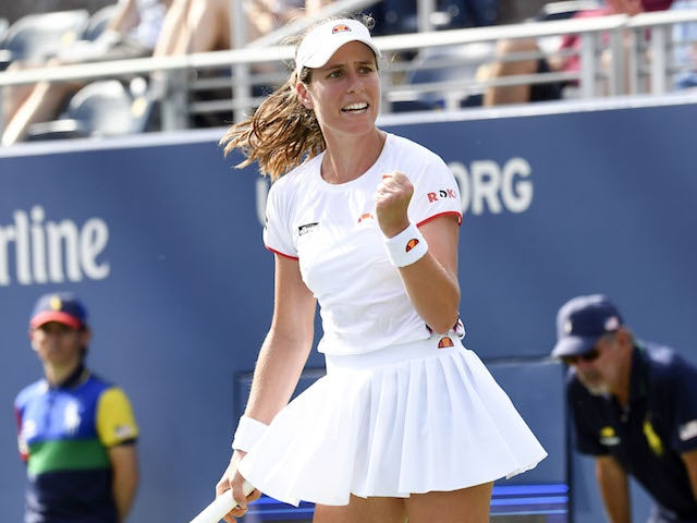 Johanna Konta of Great Britain celebrates her win over Shuai Zhang of China in the third round on day five of the 2019 U.S. Open tennis tournament at USTA Billie Jean King National Tennis Center on August 30, 2019