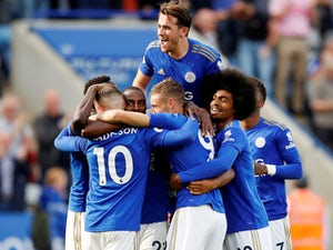 Jamie Vardy celebrates scoring for Leicester City on August 31, 2019
