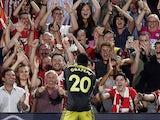 Southampton's Michael Obafemi celebrates scoring their first goal on August 27, 2019