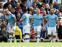 Manchester City's Kevin De Bruyne celebrates scoring their first goal with team mates on August 31, 2019