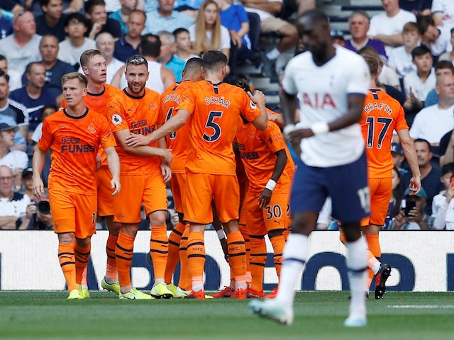 Newcastle United's Joelinton celebrates scoring their first goal with team mates on August 25, 2019