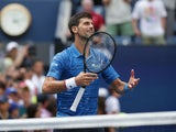 Novak Djokovic of Serbia celebrates match point against Roberto Carballes Baena of Spain in a first round match on day one of the 2019 U.S. Open tennis tournament at USTA Billie Jean King National Tennis Center on August 26, 2019