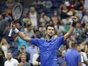 Novak Djokovic of Serbia celebrates match point against Denis Kudla of the United States in a third round match on day five of the 2019 U.S. Open tennis tournament at USTA Billie Jean King National Tennis Center on August 31, 2019