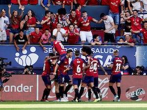 Osasuna players celebrate Roberto Torres's goal against Barcelona in La Liga on August 31, 2019