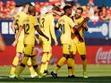 Barcelona players celebrate Ansu Fati's goal against Osasuna in La Liga on August 31, 2019