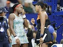 Naomi Osaka of Japan (R) talks with Coco Gauff of the United States (L) after their match in the third round on day six of the 2019 U.S. Open tennis tournament at USTA Billie Jean King National Tennis Center