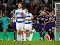Portsmouth's John Marquis celebrates after scoring their first goal from the penalty spot on August 28, 2019