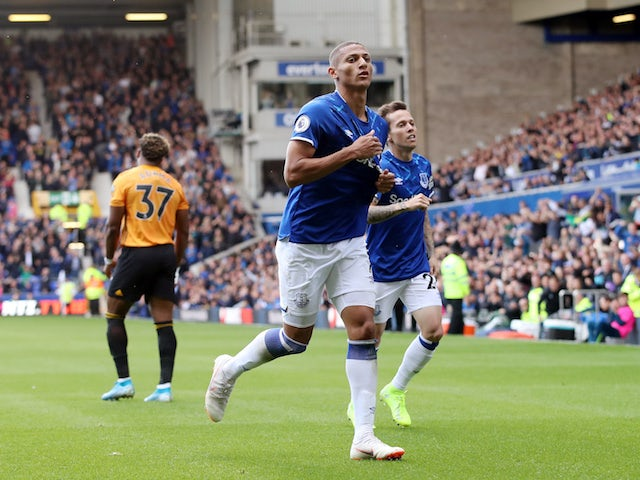 Everton's Richarlison celebrates scoring their third goal on September 1, 2019