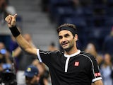 Roger Federer of Switzerland waves to the crowd after his win over Sumit Nagal of India in the first round on day one of the 2019 U.S. Open tennis tournament at USTA Billie Jean King National Tennis Center on August 27, 2019