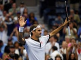 Roger Federer of Switzerland reacts after defeating Damir Dzumhur of Bosnia and Herzegovina (not pictured) in the second round on day three of the 2019 U.S. Open tennis tournament at USTA Billie Jean King National Tennis Center on August 28, 2019