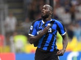 Romelu Lukaku celebrates scoring for Inter Milan on August 26, 2019
