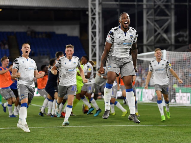 Colchester United's Ryan Jackson celebrates at the end of the match on August 27, 2019