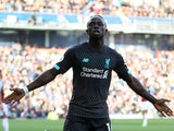 Sadio Mane celebrates scoring during the Premier League game between Burnley and Liverpool on August 31, 2019