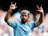 Manchester City's Sergio Aguero celebrates scoring their third goal on August 31, 2019